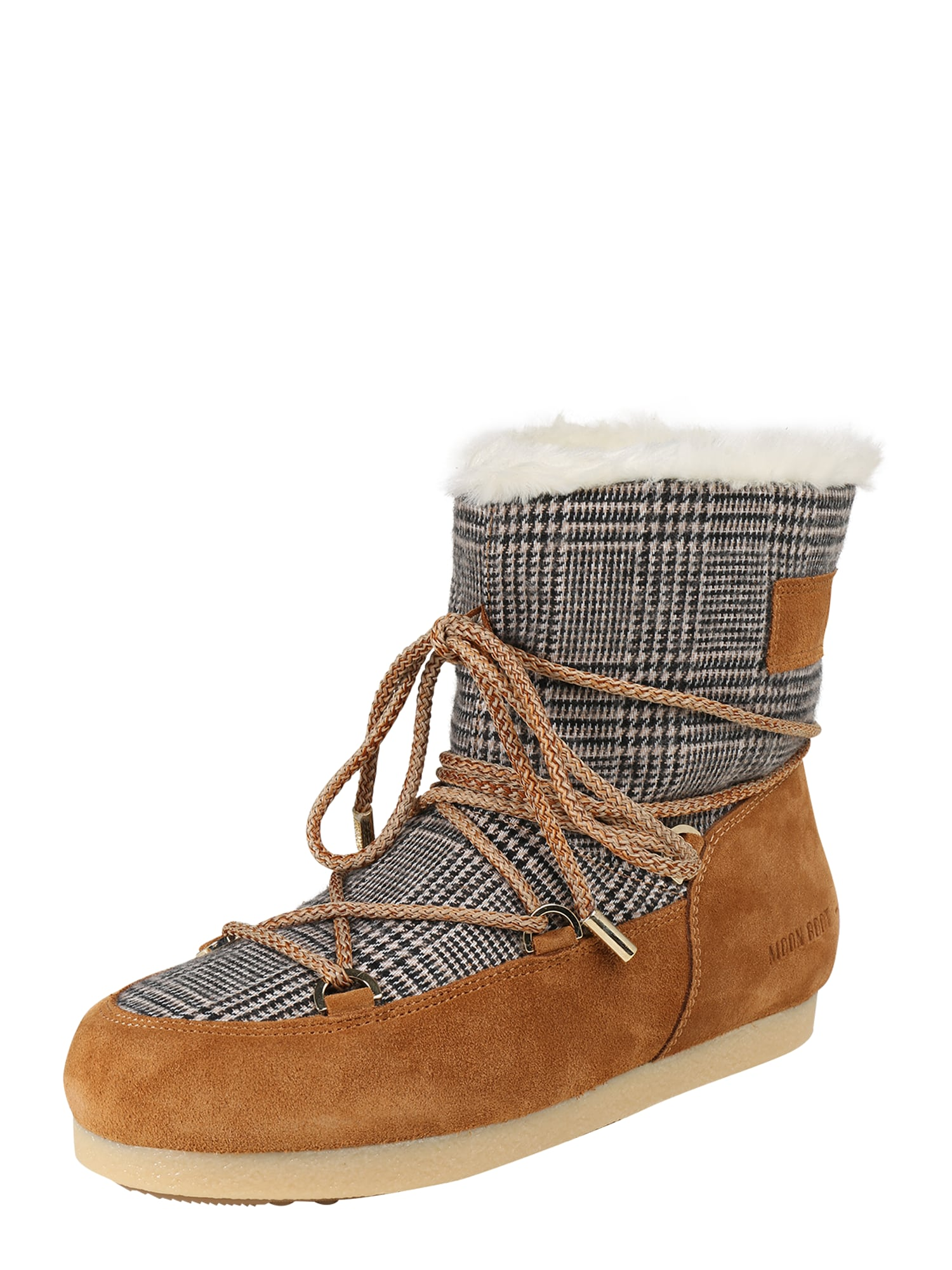 MOON BOOT Sniego batai 'MB FAR SIDE LOW FUR/TARTAN' ruda