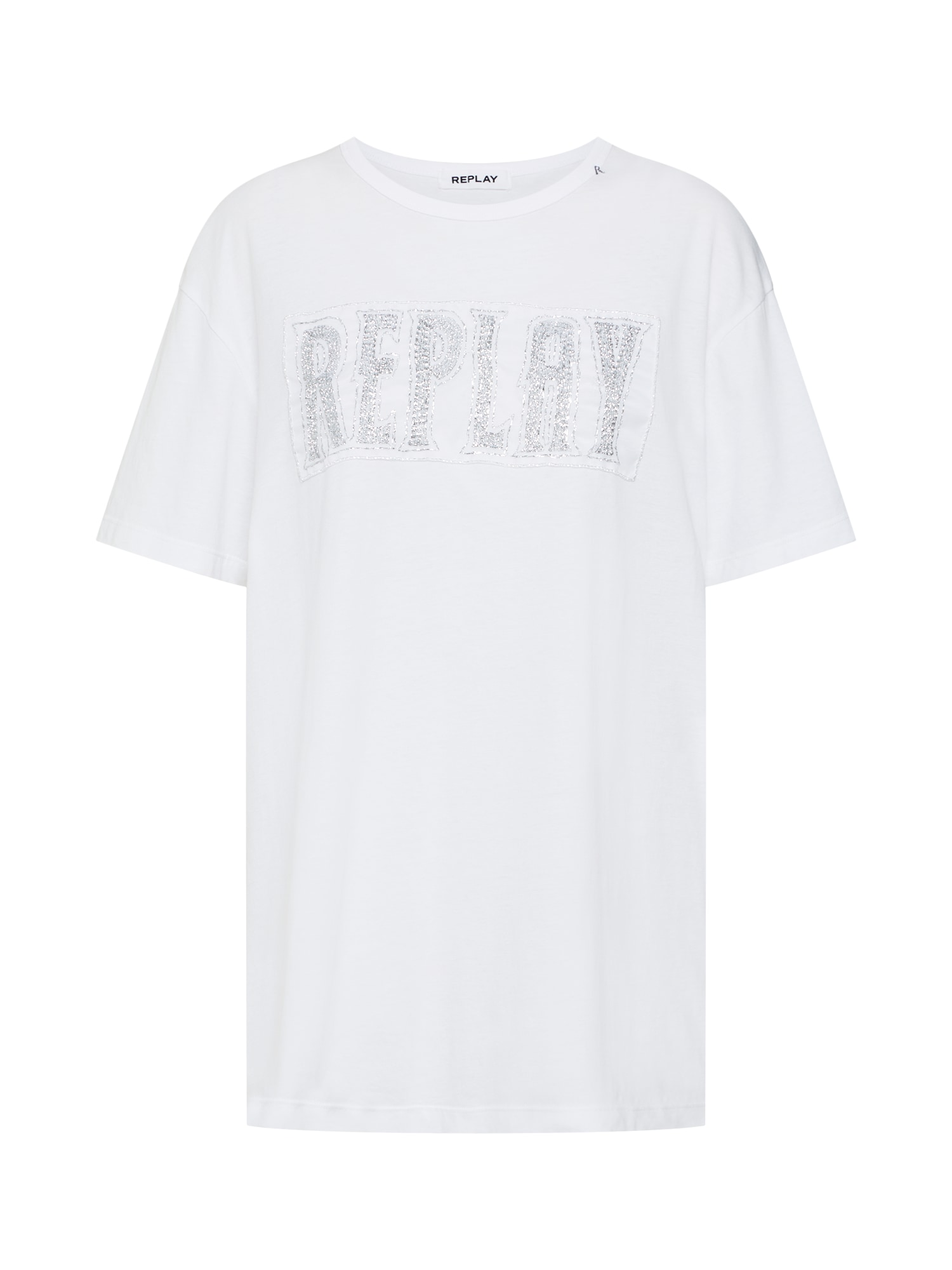 REPLAY Tricou  argintiu / alb