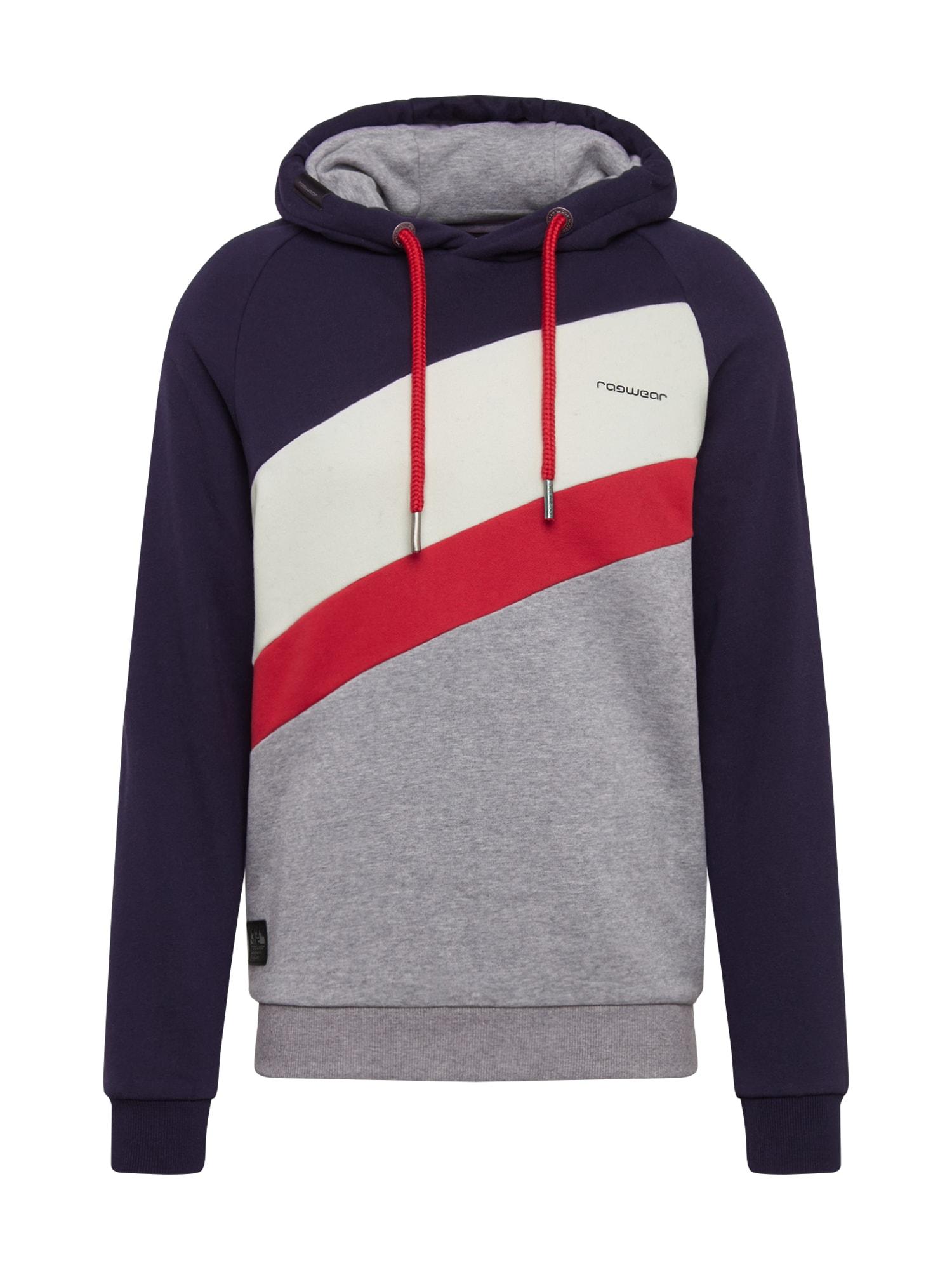 Ragwear Bluză de molton 'TRICOLE SWEAT'  gri închis / roșu / negru / alb