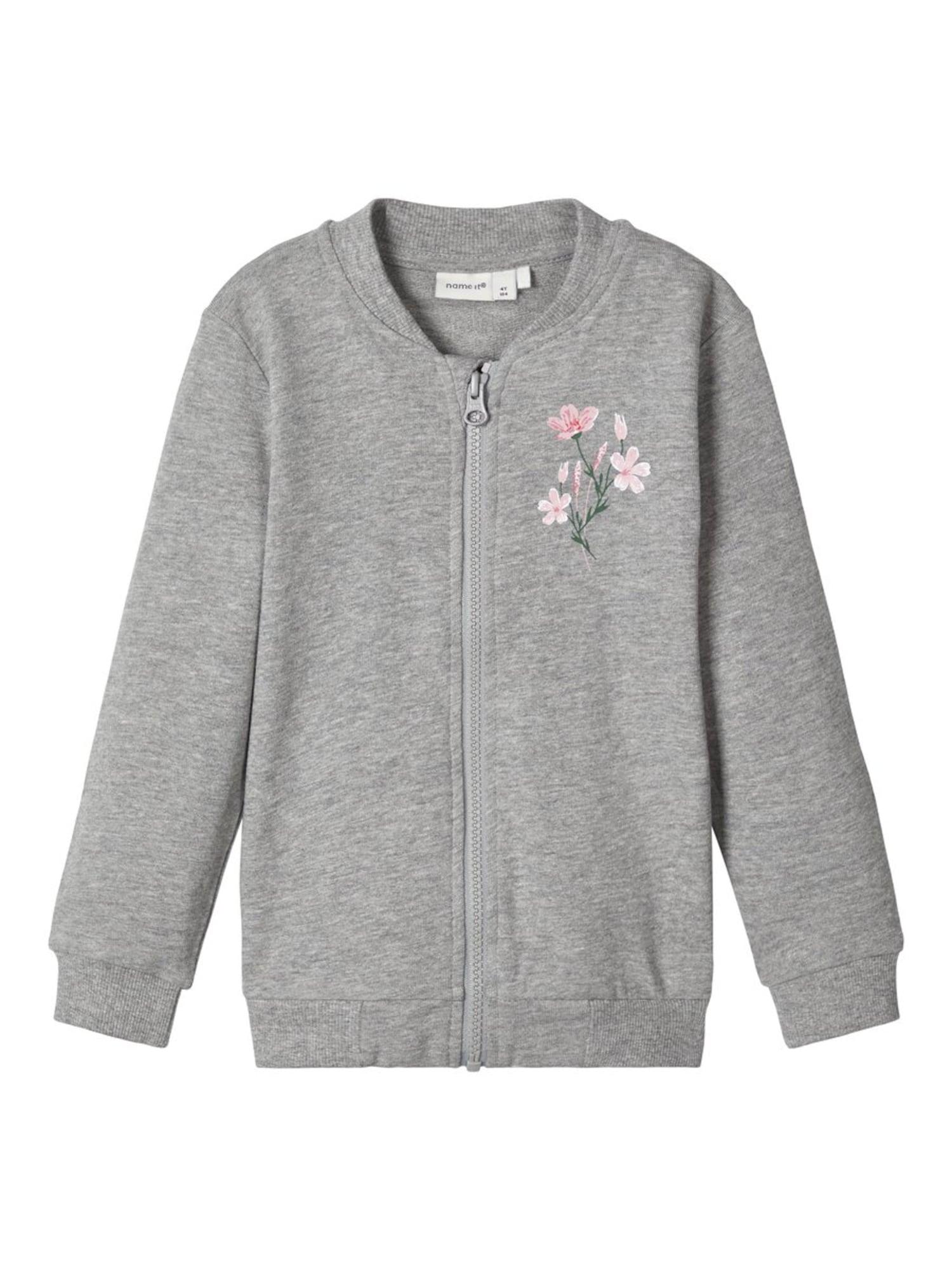 NAME IT Džemperis 'NMFBEATE LS CARD UNB CAMP' margai pilka / rožių spalva