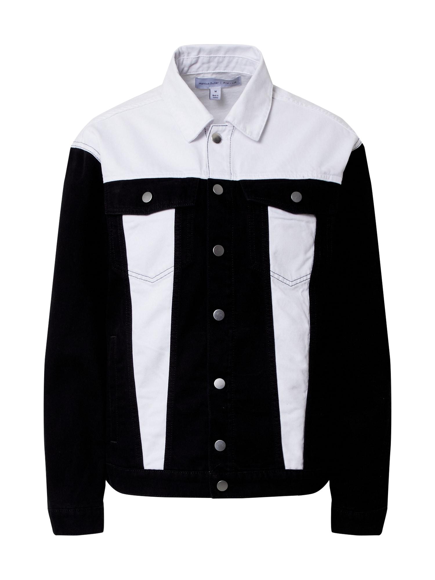 NU-IN Demisezoninė striukė juodo džinso spalva / balto džinso spalva