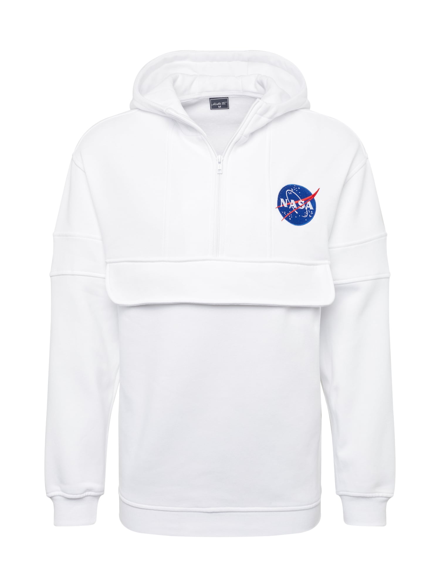 Mister Tee Džemperis 'NASA Chest Embroidery Pull Over Hoody' balta