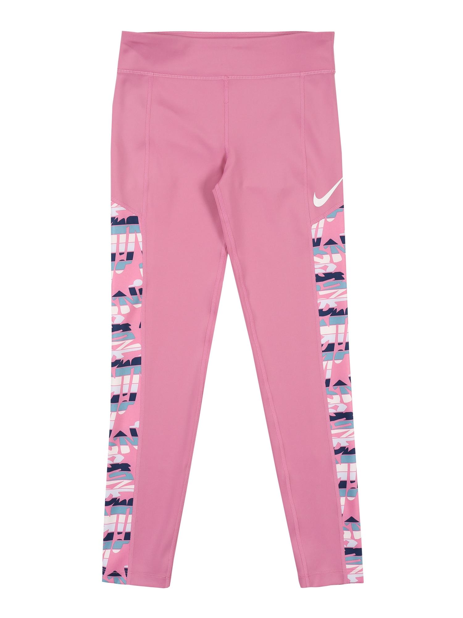 NIKE Sportovní kalhoty  pink / bílá