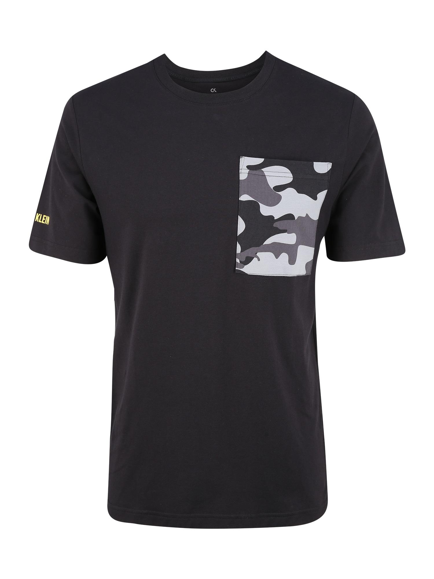 Calvin Klein Performance Sportiniai marškinėliai 'SHORT SLEEVE T-SHIRT' juoda / pilka