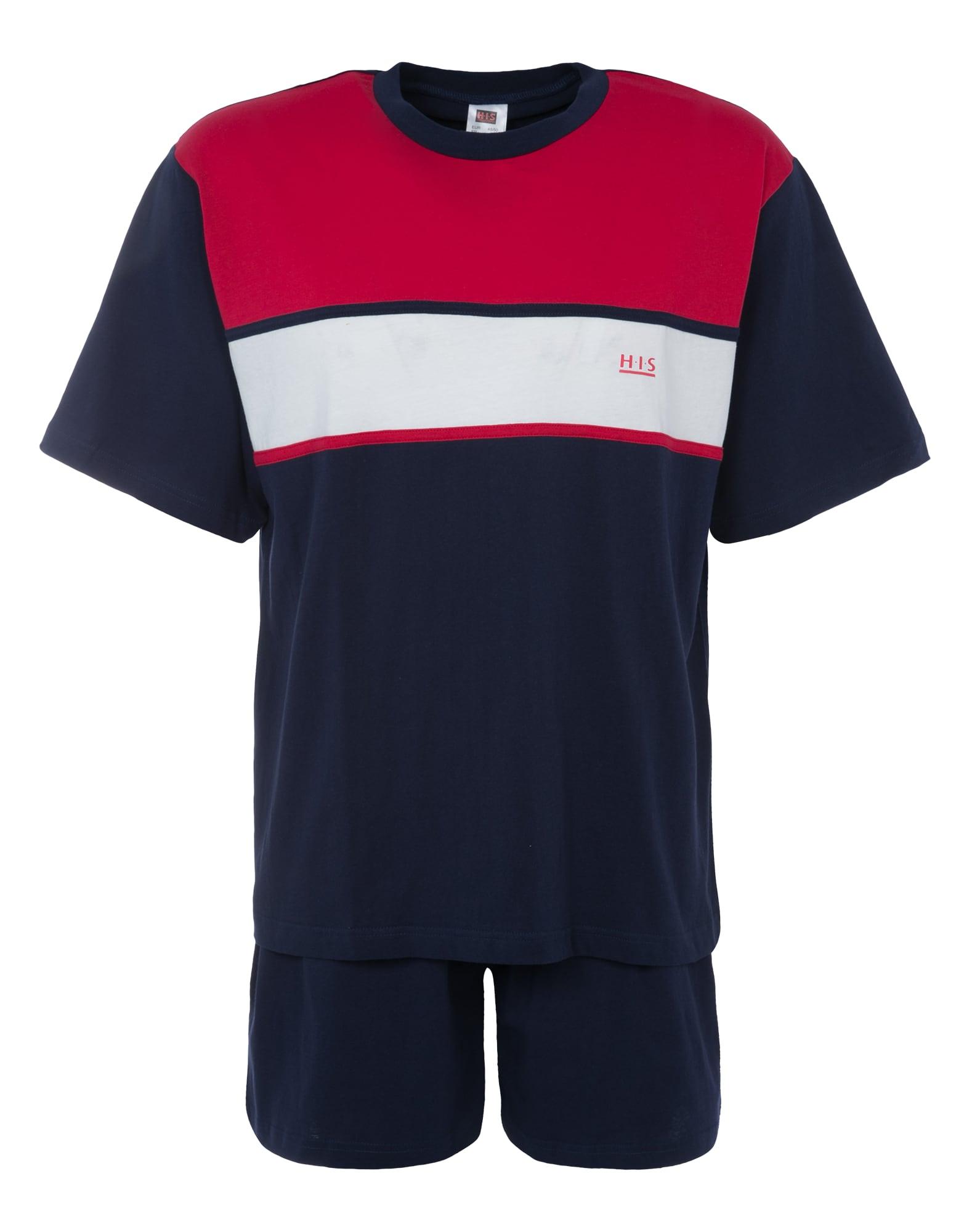 H.I.S Trumpa pižama raudona / balta / tamsiai mėlyna
