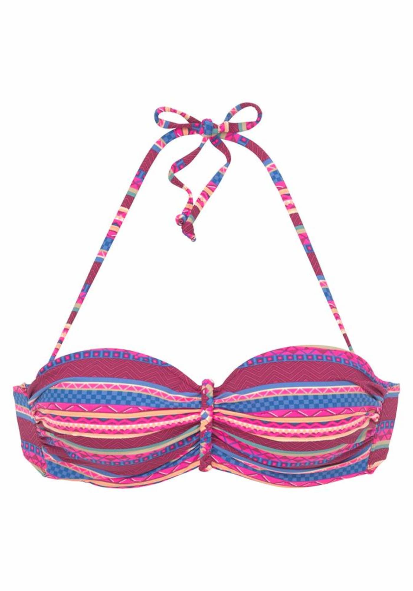 BUFFALO Bikinio viršutinė dalis vyšninė spalva / mėlyna / fuksijų spalva