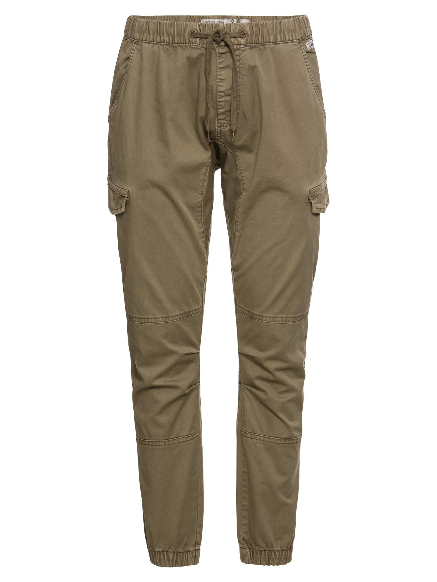 INDICODE JEANS Laisvo stiliaus kelnės 'Levy' rusvai žalia