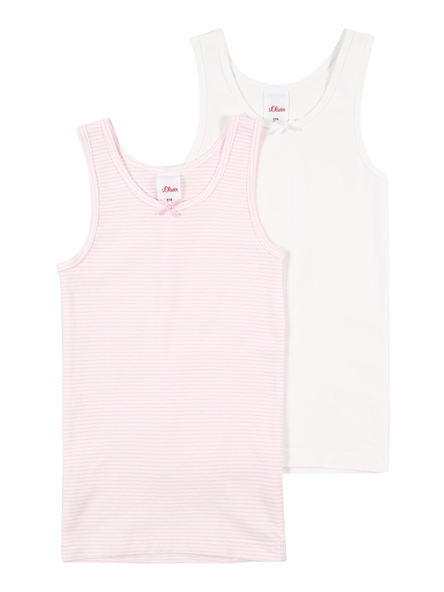 s.Oliver Apatiniai marškinėliai balta / pastelinė rožinė