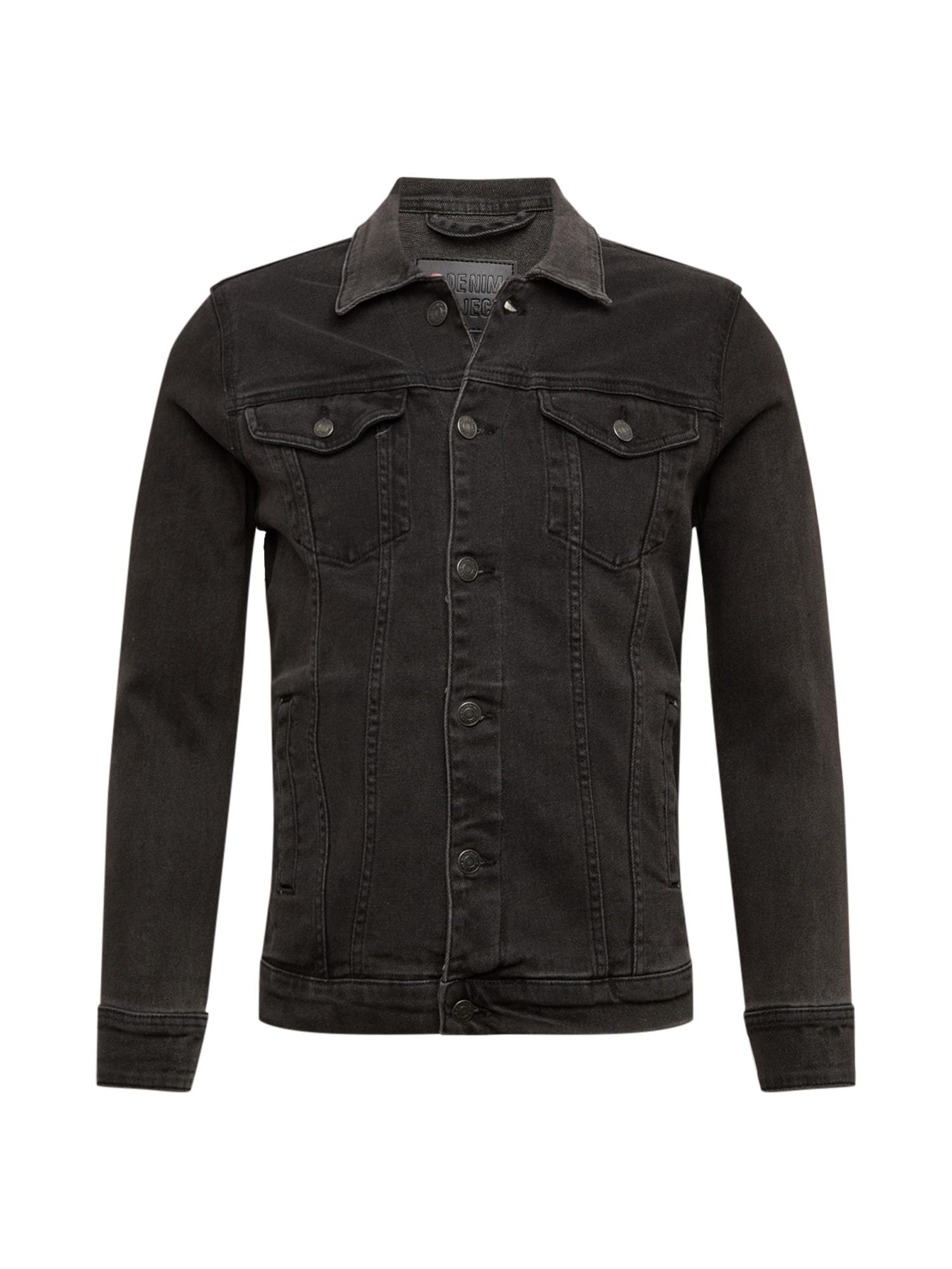 Denim Project Demisezoninė striukė juodo džinso spalva