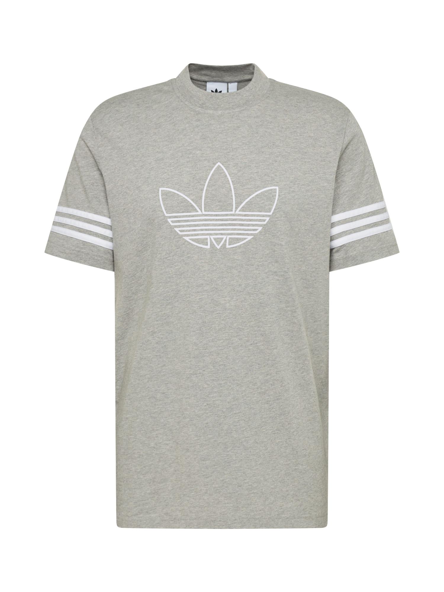 ADIDAS ORIGINALS Marškinėliai 'OUTLINE TEE' margai pilka / balta