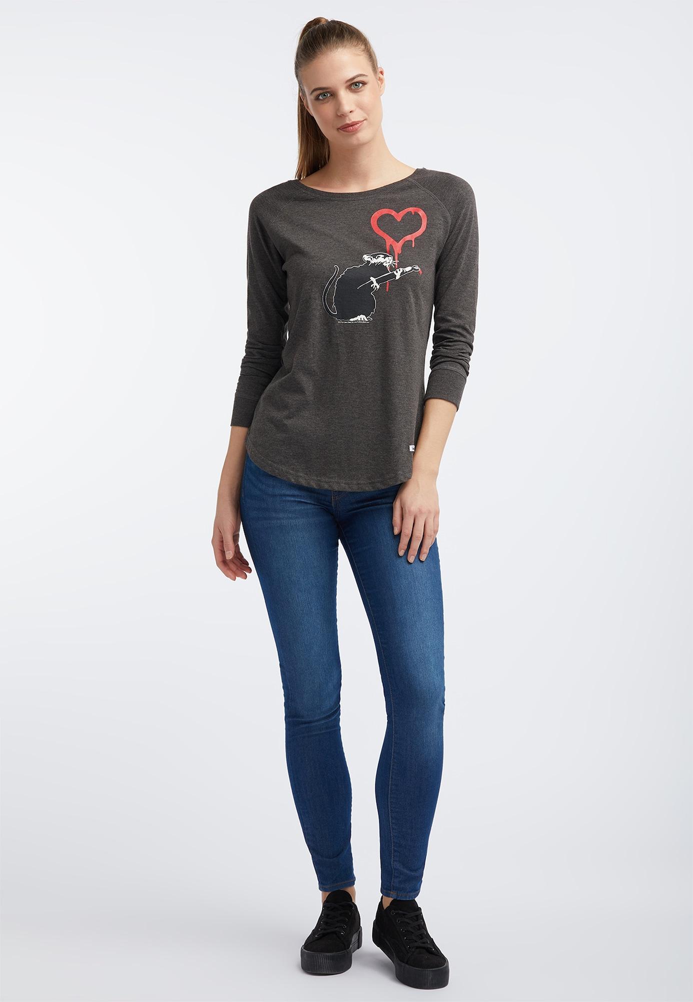 HOMEBASE, Damen Shirt, antraciet / donkergrijs / rood / wit
