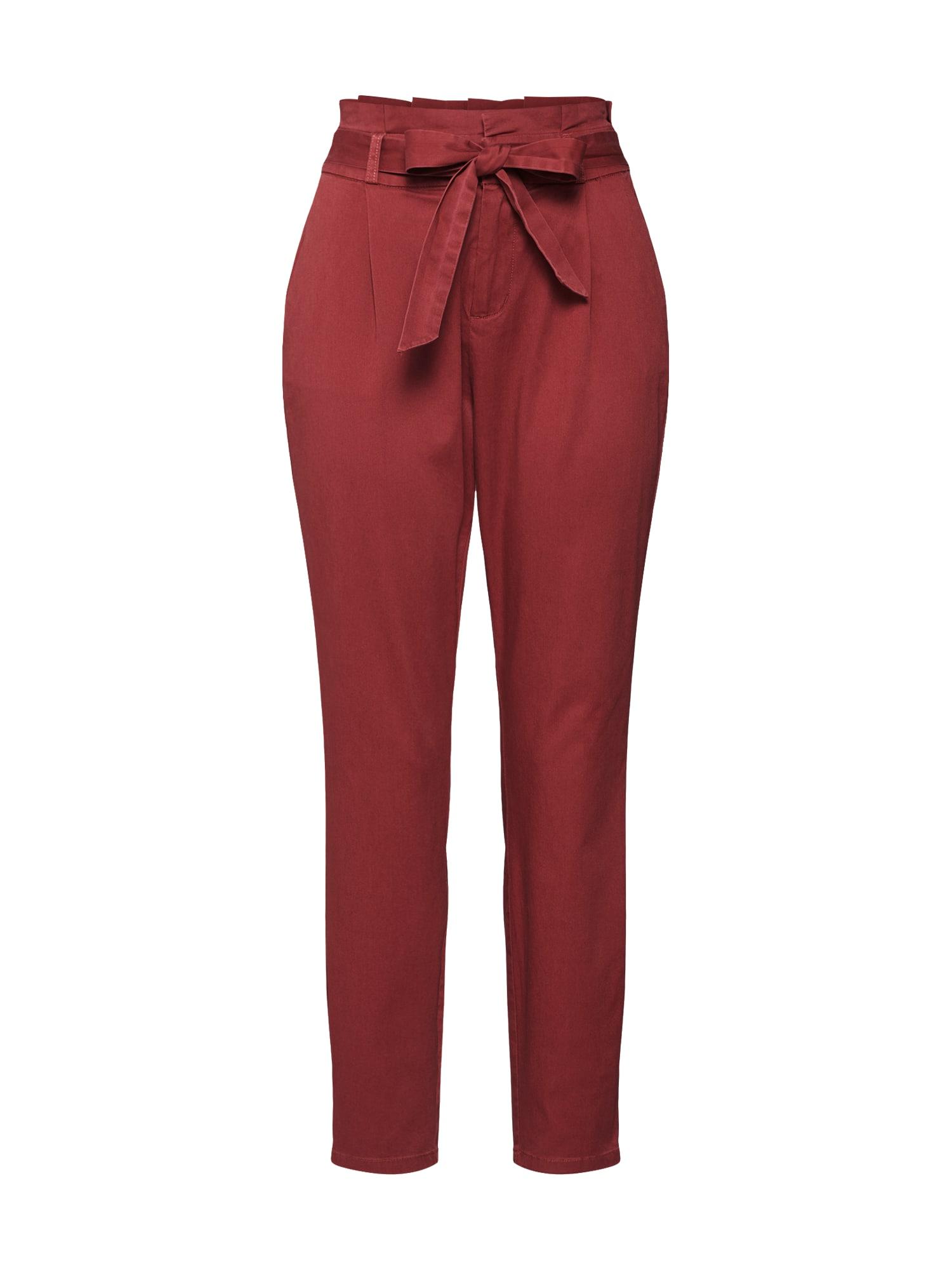 Kalhoty se sklady v pase Eva červená VERO MODA