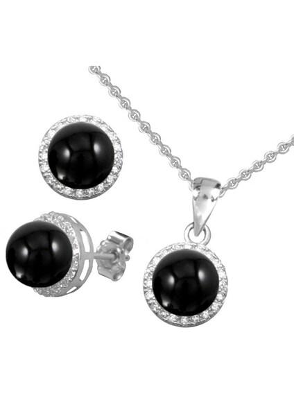 Schmucksets für Frauen - FIRETTI Ohrstecker und Halskette mit Onyx und Zirkonia (4tlg.) silber  - Onlineshop ABOUT YOU
