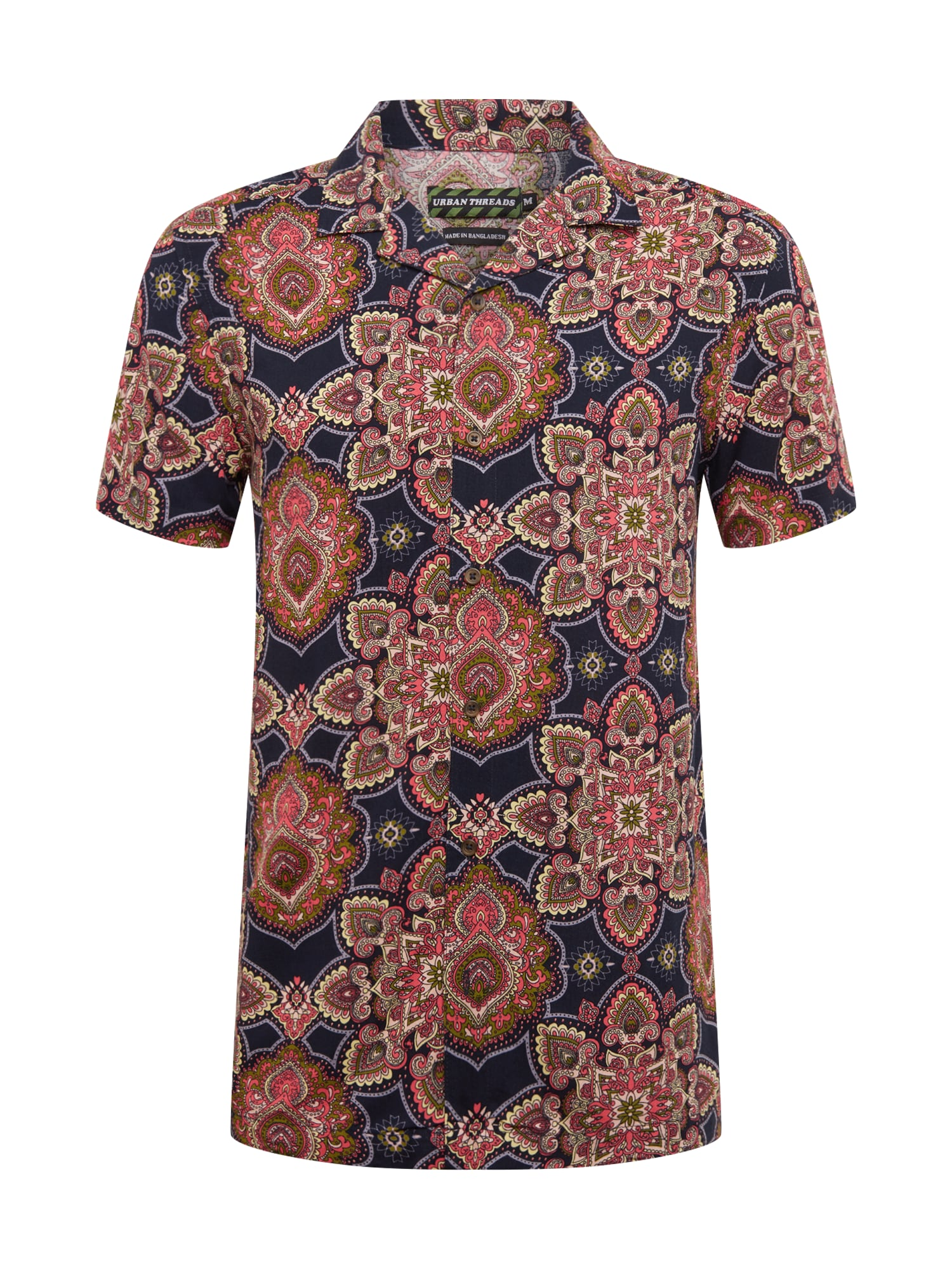 Urban Threads Košeľa 'Viscose Woven Shirt'  tmavomodrá / červené