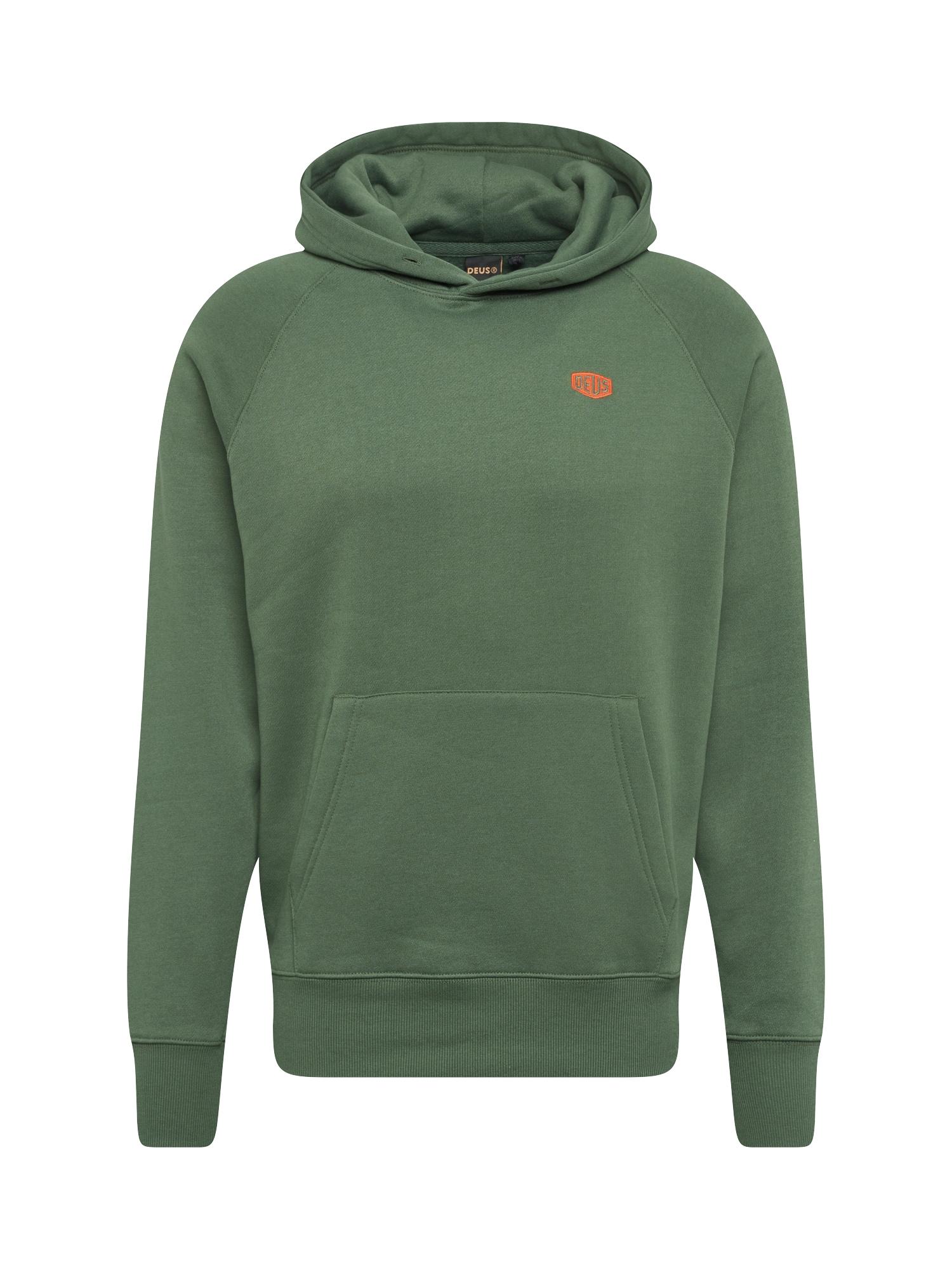Mikina Mike Shield Hoodie tmavě zelená oranžová DEUS EX MACHINA