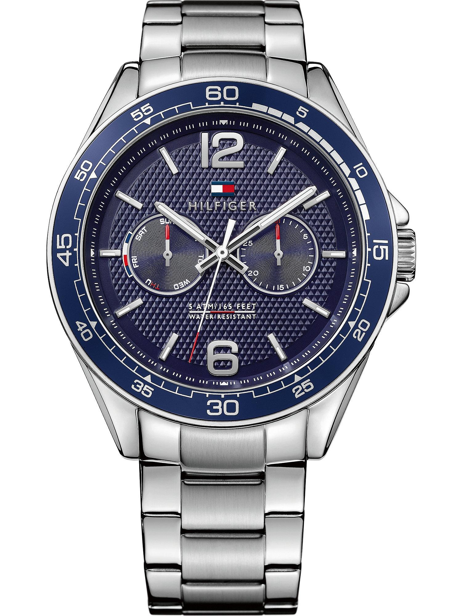 TOMMY HILFIGER Analoginis (įprasto dizaino) laikrodis sidabrinė / tamsiai mėlyna
