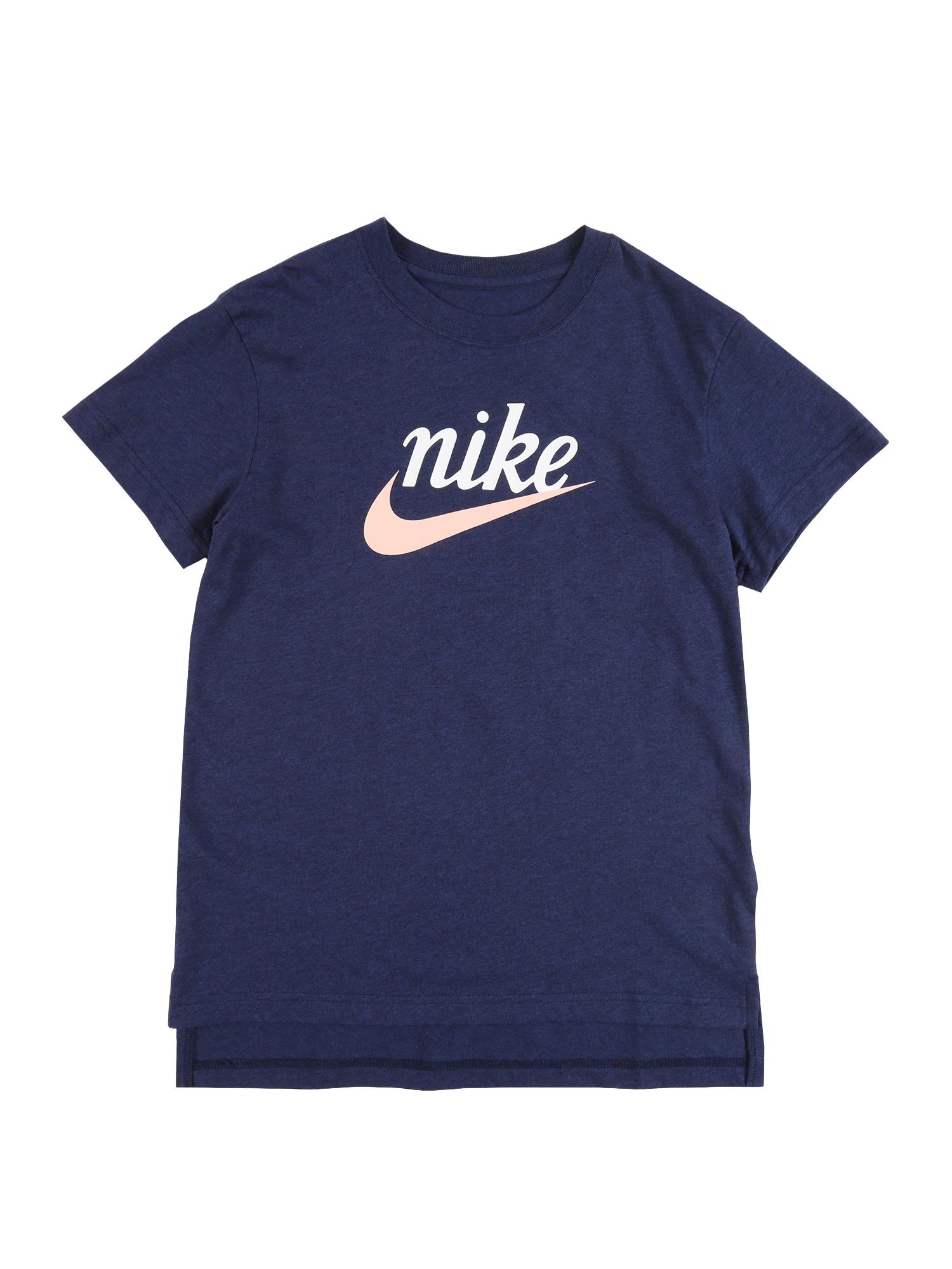 Nike Sportswear Marškinėliai mėlyna / balta