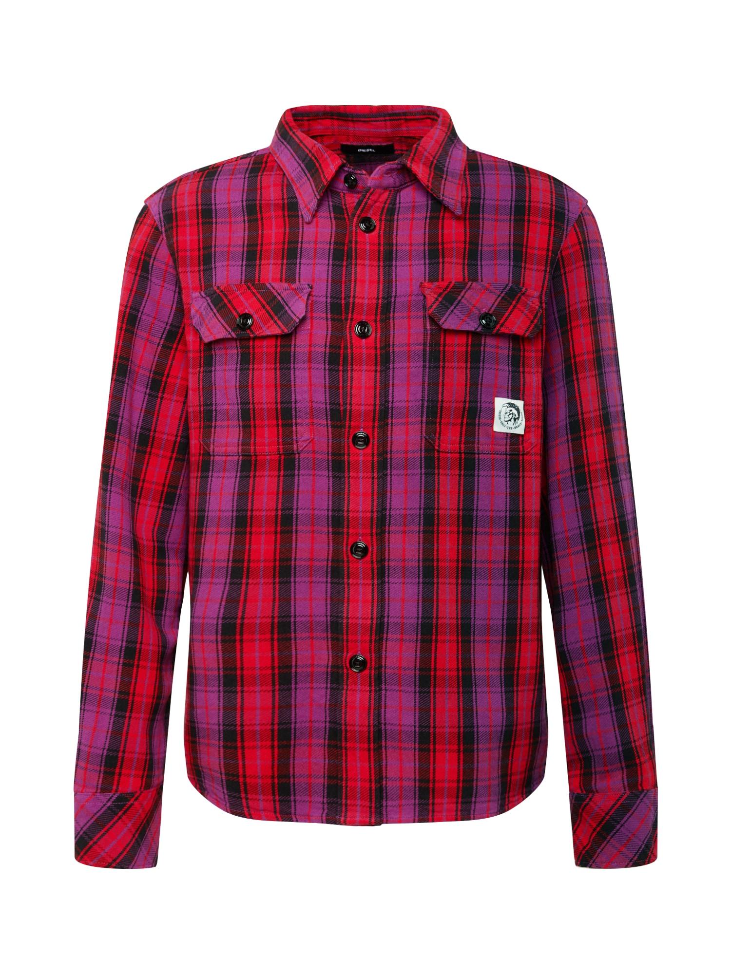 DIESEL Dalykiniai marškiniai 'S-GERRY-CHECK' tamsiai violetinė / mišrios spalvos