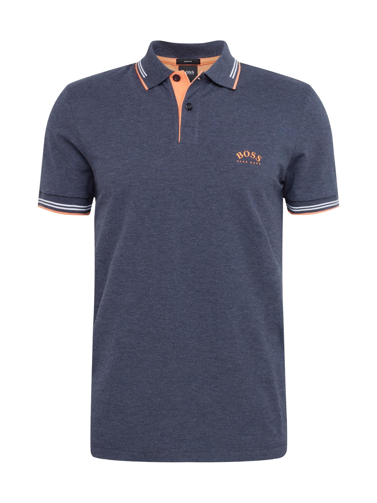 BOSS ATHLEISURE Marškinėliai 'Paul Curved' tamsiai mėlyna