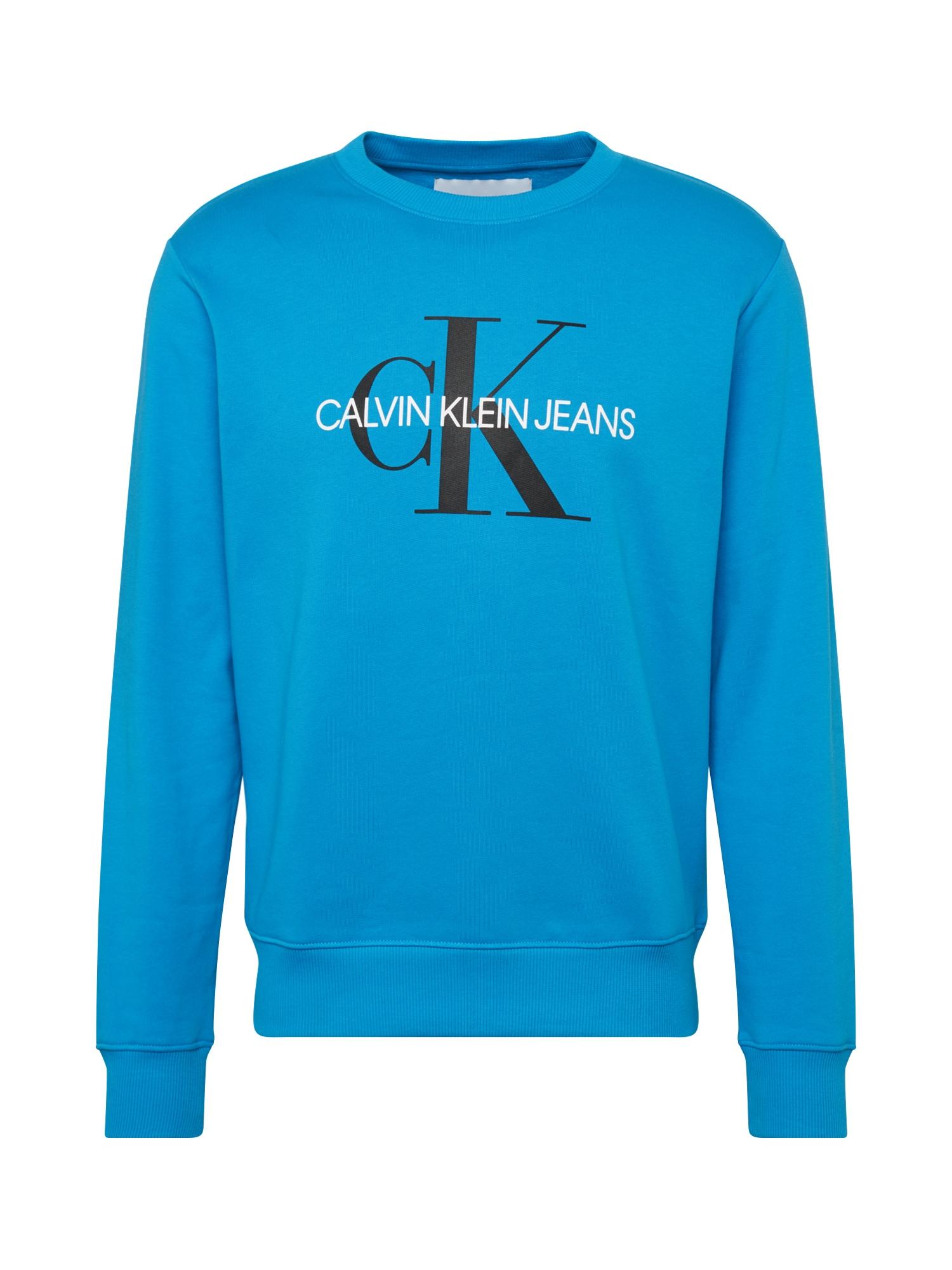 Calvin Klein Jeans Megztinis be užsegimo 'MONOGRAM REG CREWNECK' mėlyna