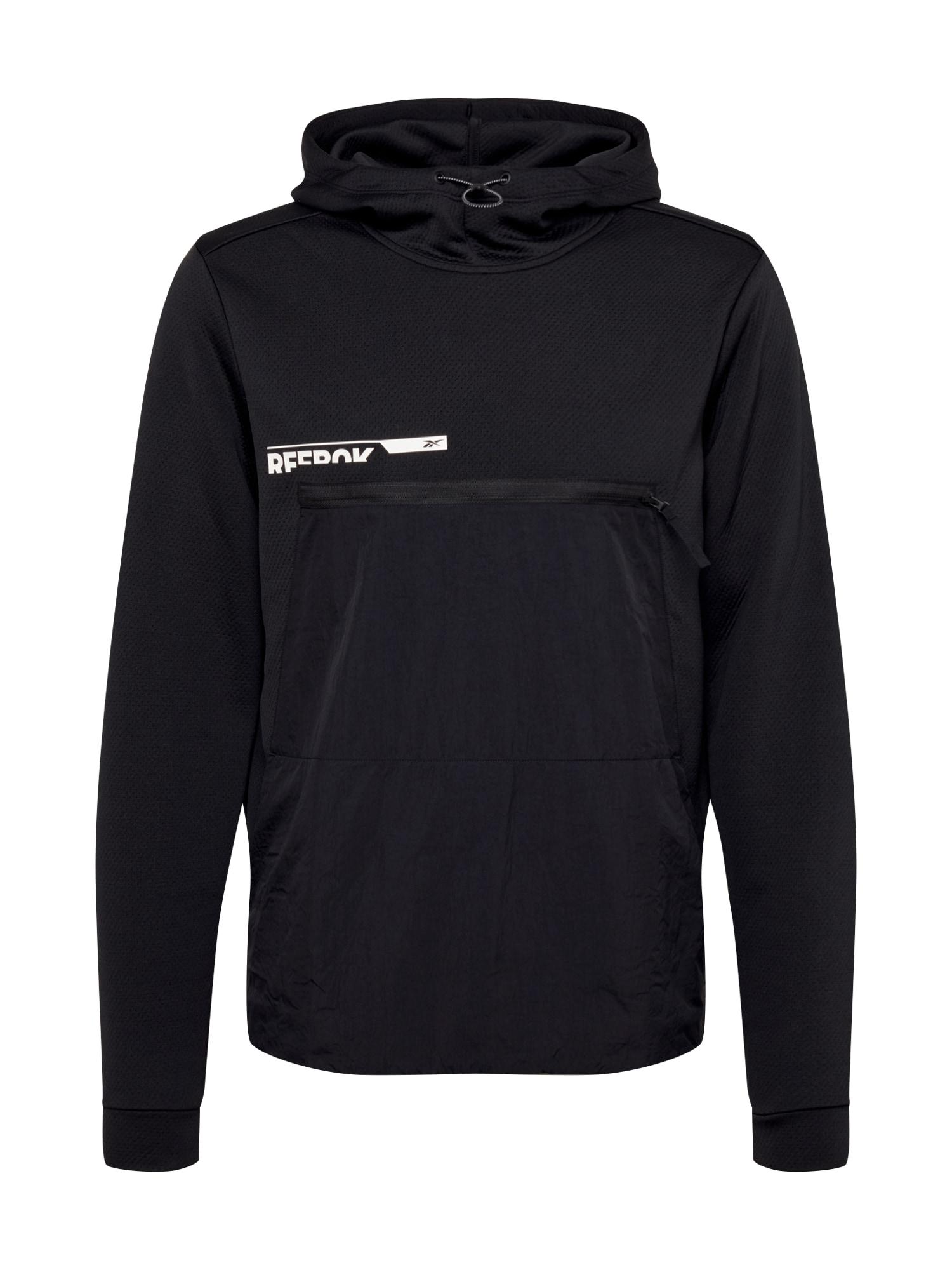 REEBOK Sportinio tipo megztinis balta / juoda