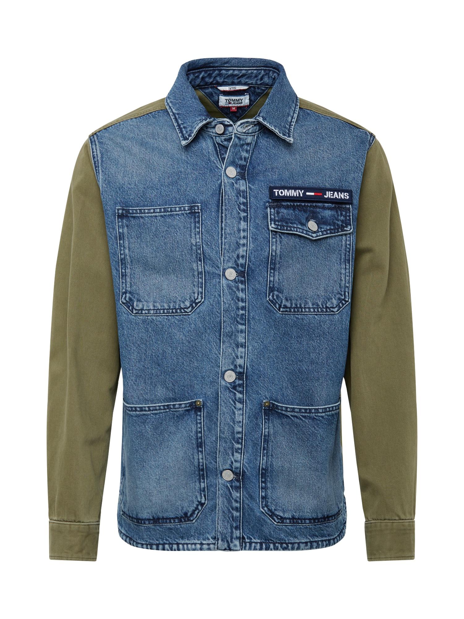 Tommy Jeans Demisezoninė striukė ' Cargo ' tamsiai (džinso) mėlyna / alyvuogių spalva