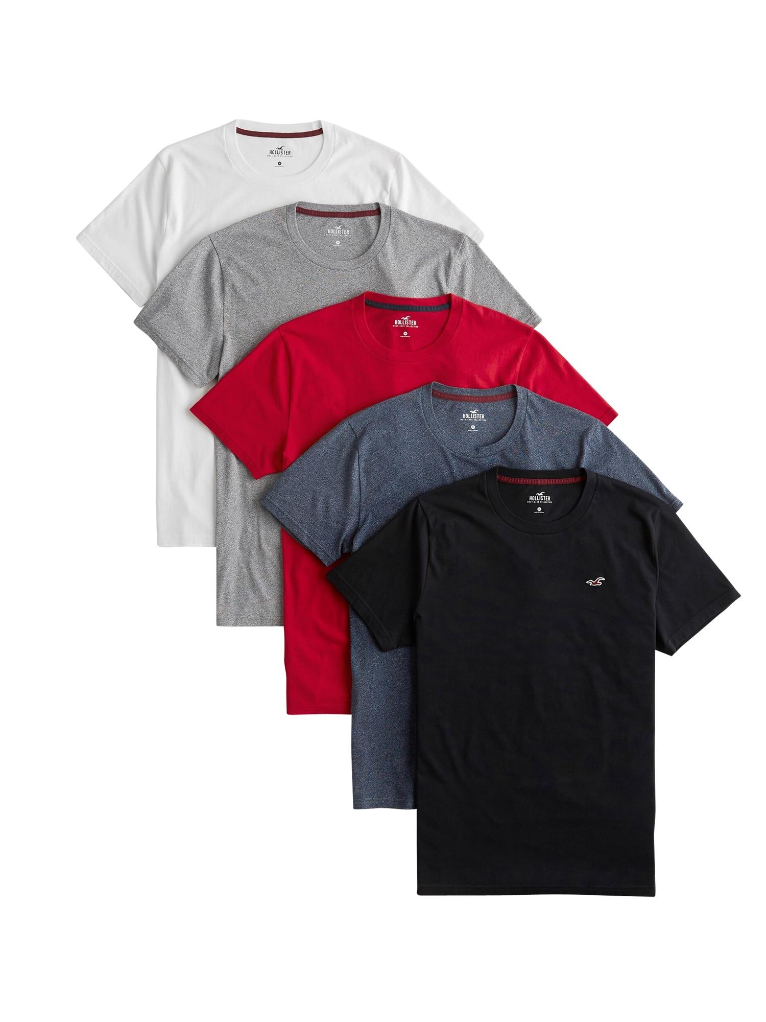 HOLLISTER Marškinėliai juoda / balta / pilka / raudona / tamsiai mėlyna
