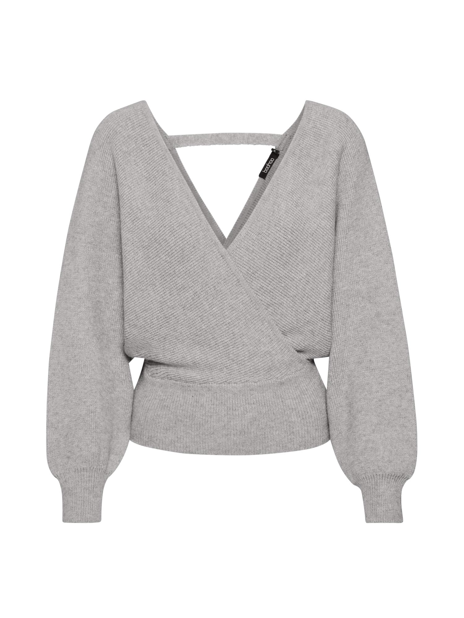 Boohoo Megztinis 'Wrap' šviesiai pilka