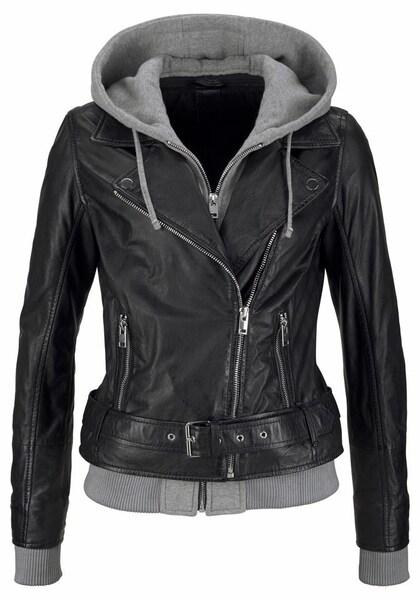 Jacken für Frauen - AJC Lederjacke grau schwarz  - Onlineshop ABOUT YOU