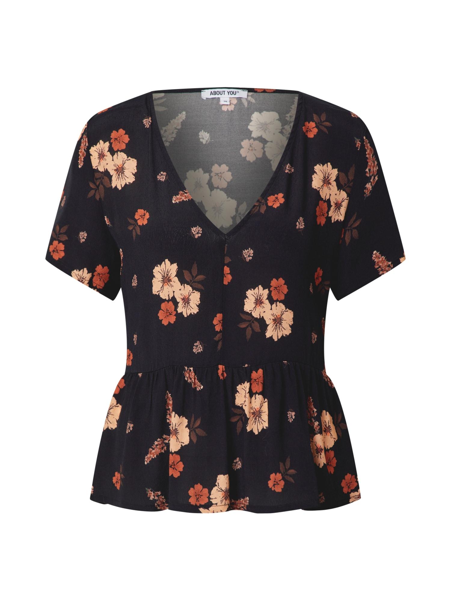 ABOUT YOU Marškinėliai 'Genia' juoda / mišrios spalvos