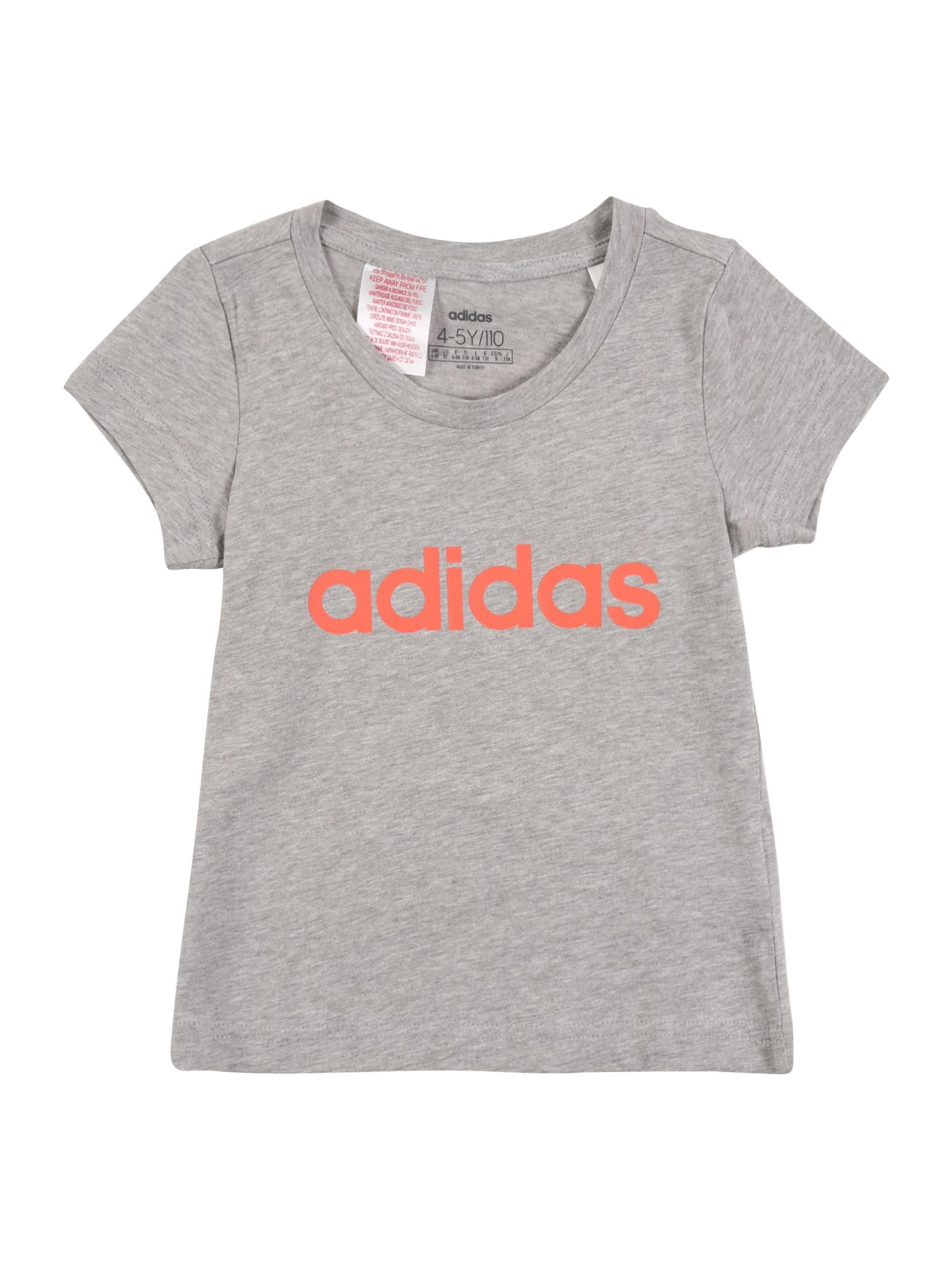 ADIDAS PERFORMANCE Sportiniai marškinėliai 'YG E LIN' pilka / oranžinė