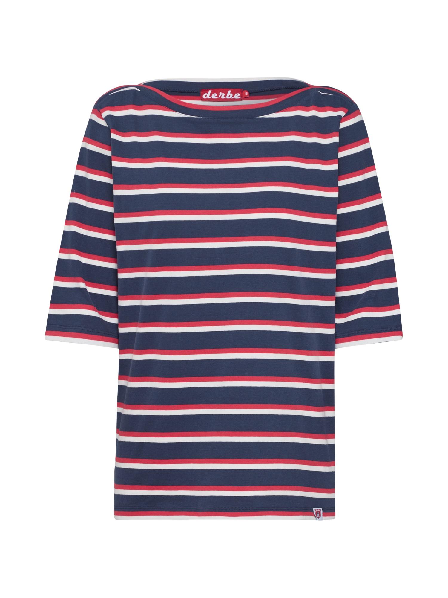 Derbe Marškinėliai 'Harbor Multistriped' balkšva / tamsiai mėlyna / raudona