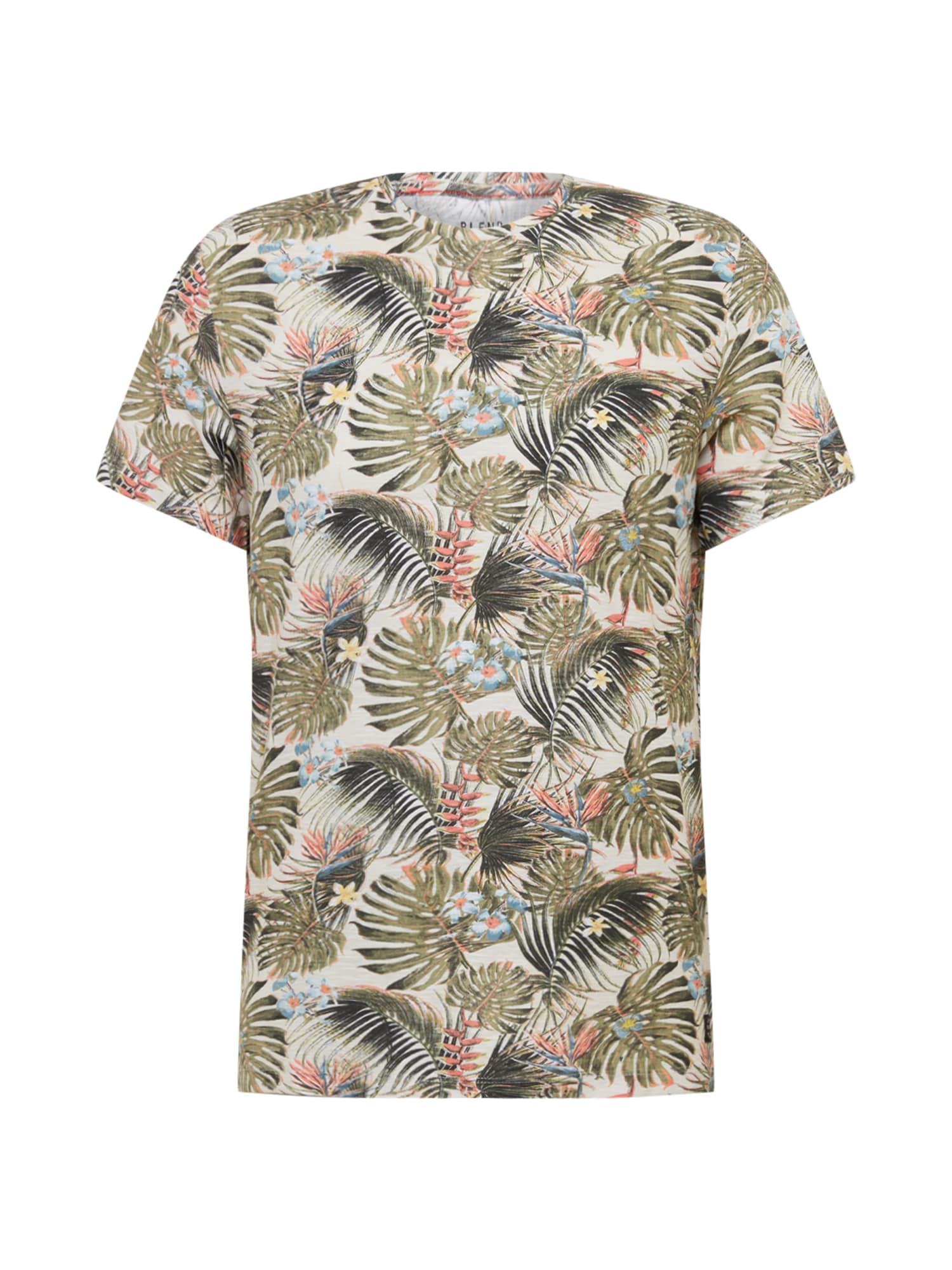 BLEND Marškinėliai 'Tee' ruda / balta / žalia