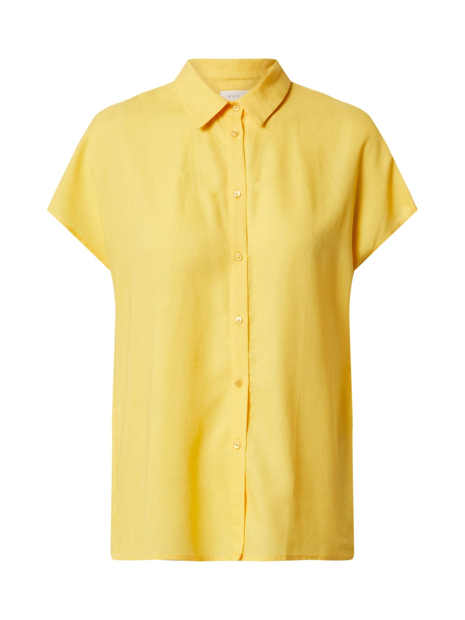 VILA Marškinėliai 'VILALINA S/L SHIRT/CAMP' geltona