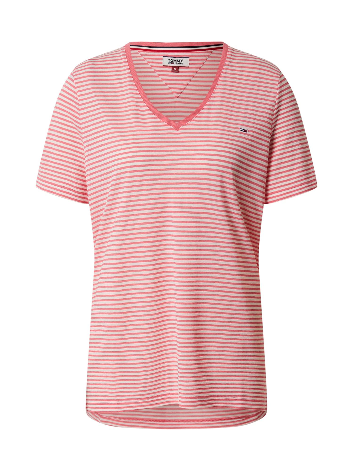 Tommy Jeans Tričko  biela / ružová