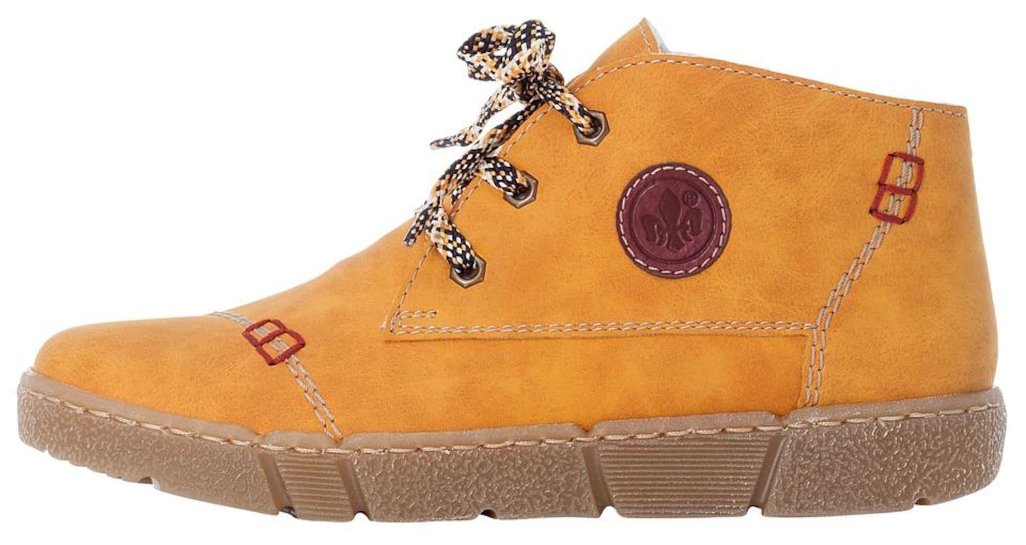 RIEKER Auliniai batai rusvai oranžinė / garstyčių spalva