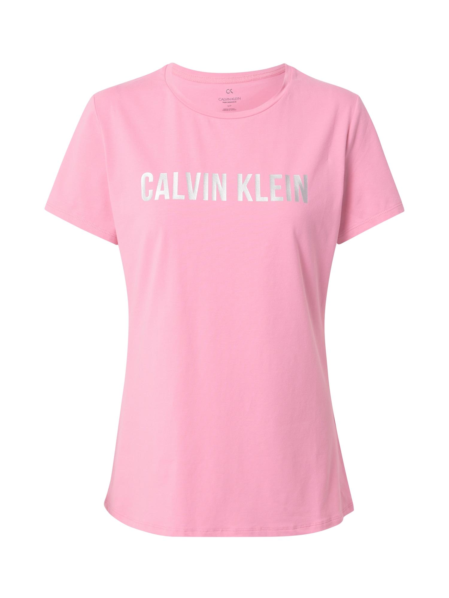 Calvin Klein Performance Sportiniai marškinėliai sidabrinė / šviesiai rožinė