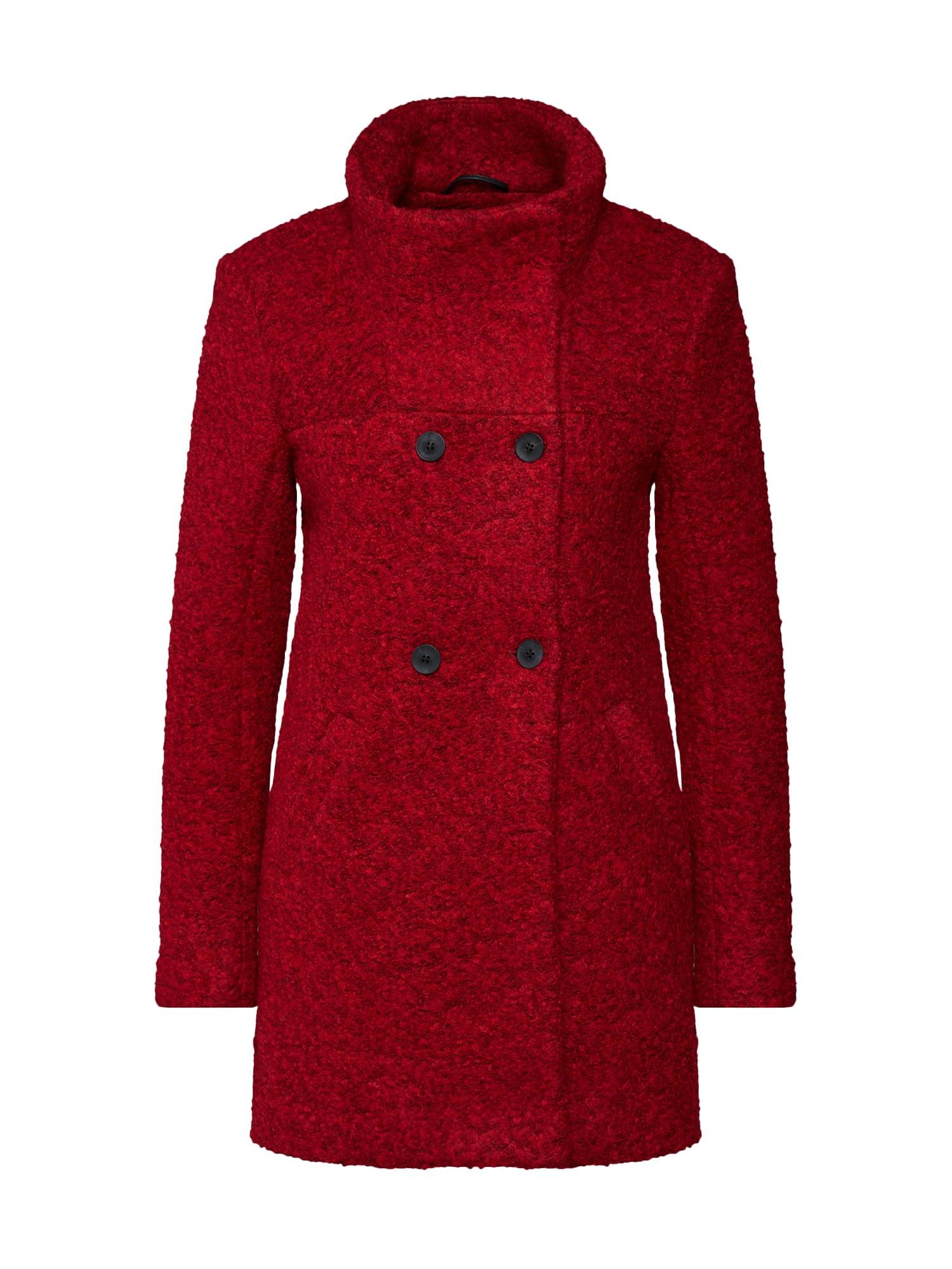 Přechodný kabát onlSOPHIA BOUCLE WOOL COAT CC červená burgundská červeň ONLY