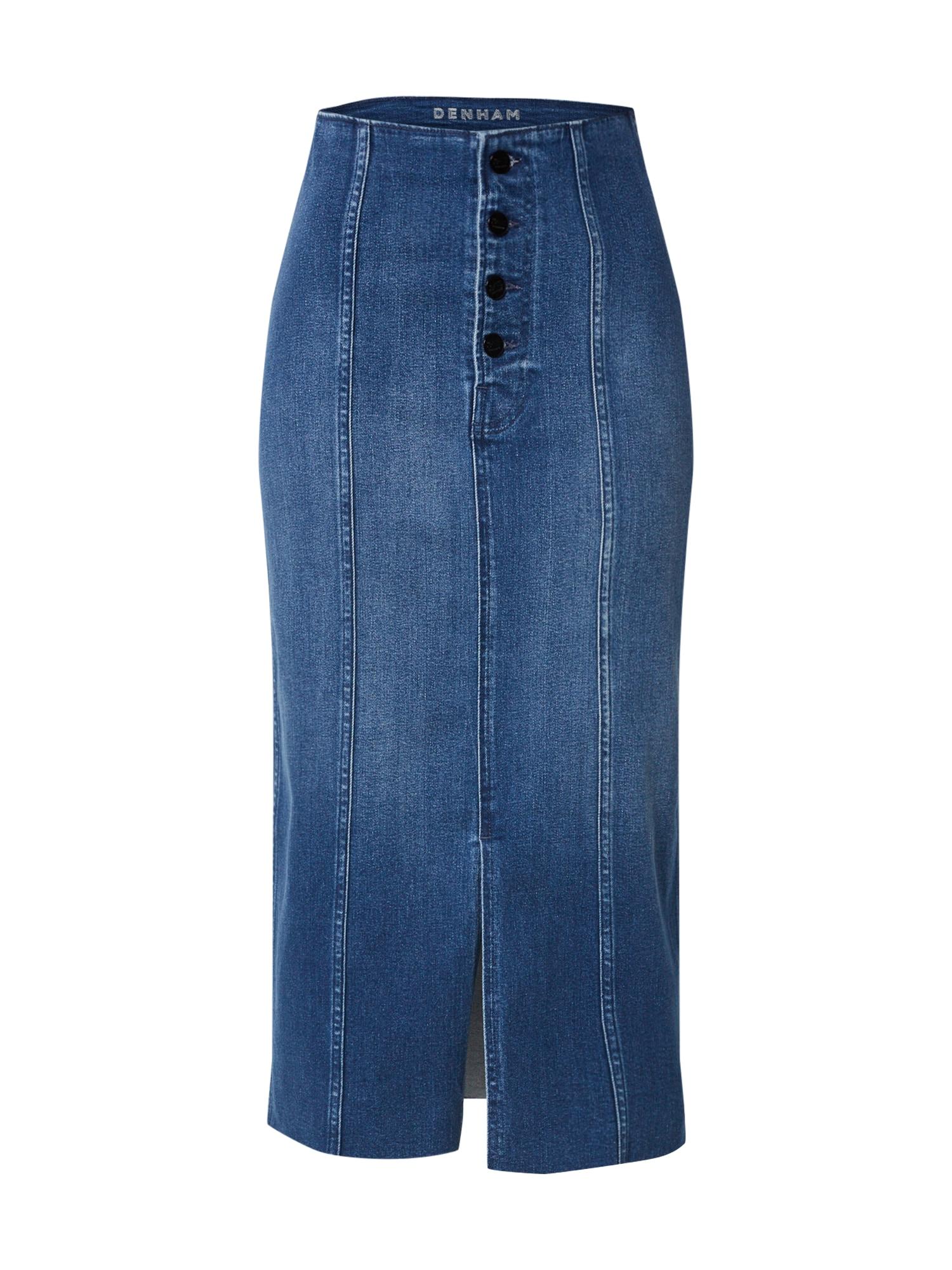 DENHAM Sijonas '70s Long Skirt Saff' tamsiai (džinso) mėlyna