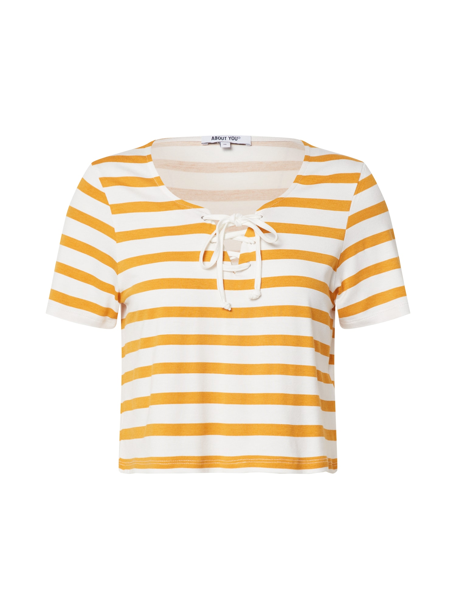 ABOUT YOU Marškinėliai 'Shirin' balta / garstyčių spalva