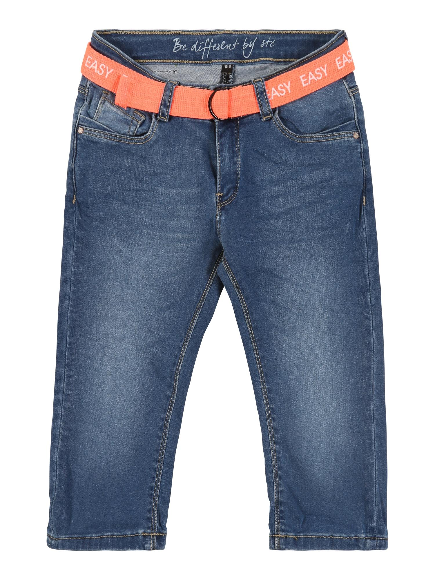 STACCATO Kelnės 'Md.-Denim-Capri+Gürtel' tamsiai (džinso) mėlyna