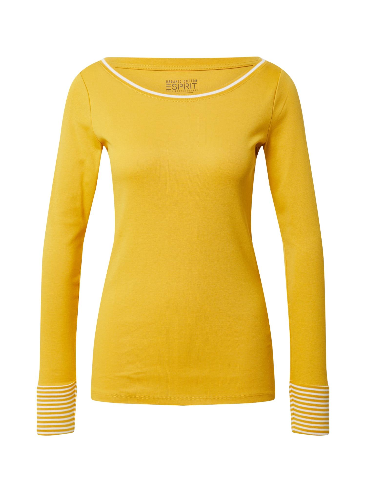 ESPRIT Tričko 'NOOS Rib'  bílá / zlatě žlutá