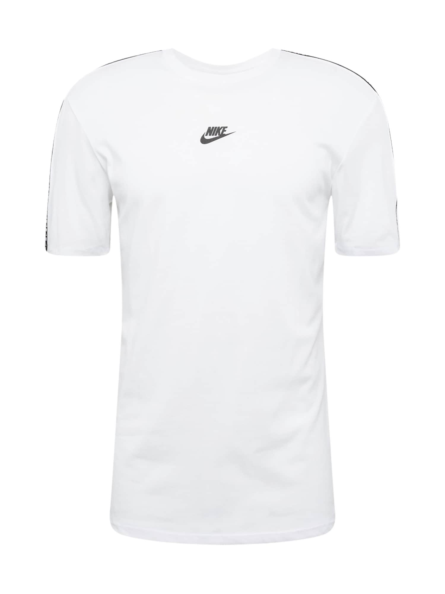 Nike Sportswear Marškinėliai 'REPEAT' juoda / balta