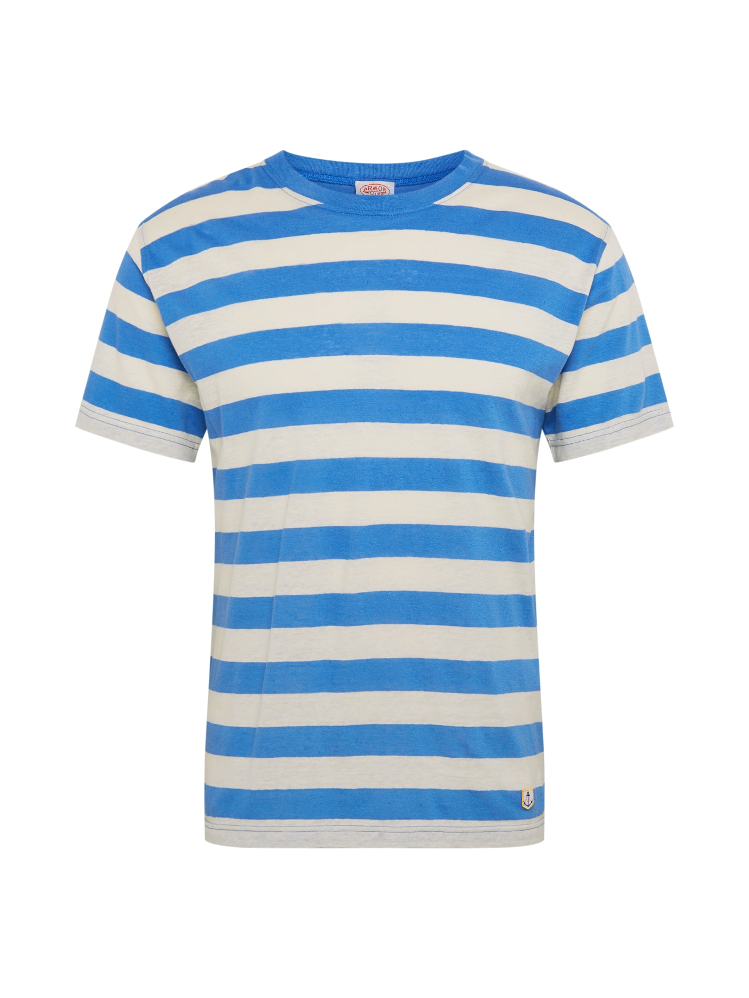Armor Lux Marškinėliai 'Tshirt MC Rayé Héritage' natūrali balta / mėlyna
