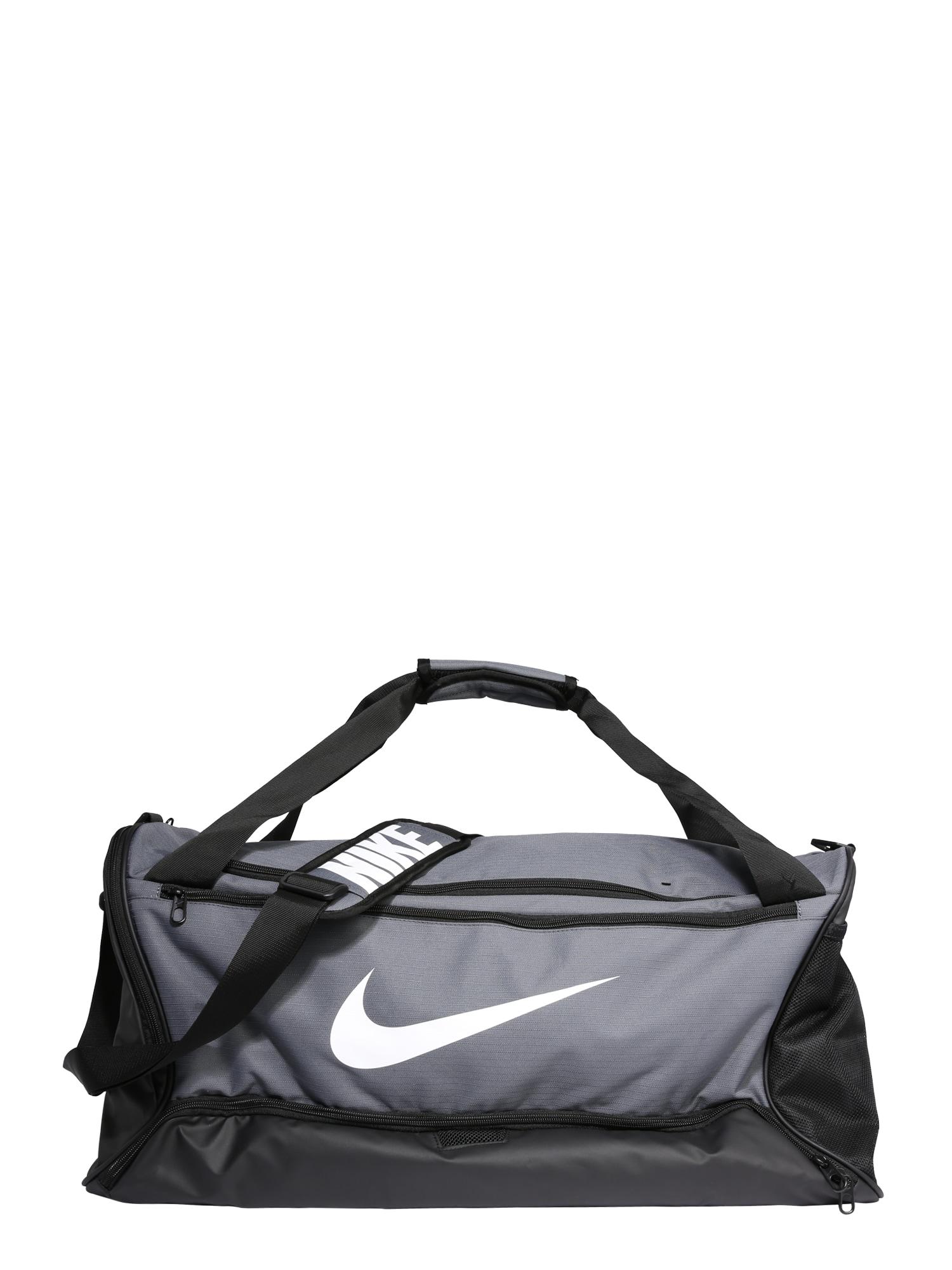 NIKE Sportovní taška 'BRSLA M DUFF - 9.0'  šedá / bílá