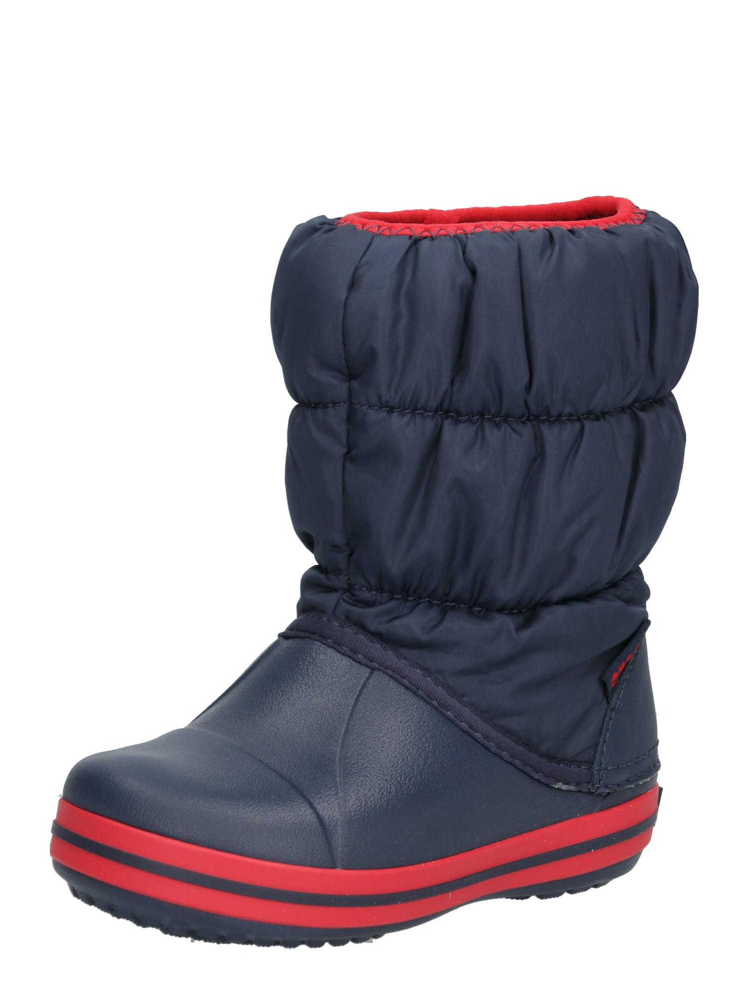 Sněhule Winter Puff Boot Kids námořnická modř červená Crocs