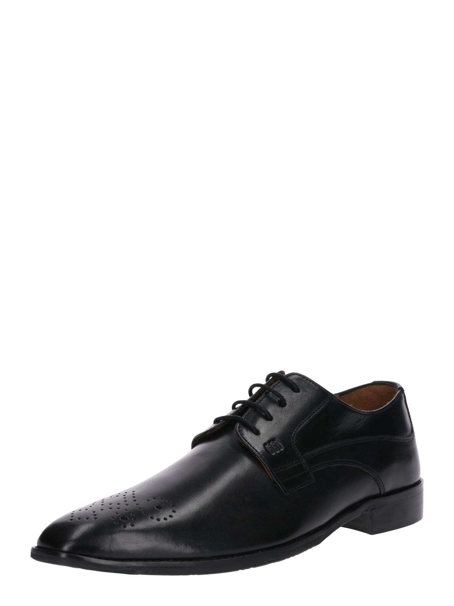Šněrovací boty Lorenzo černá Gordon & Bros