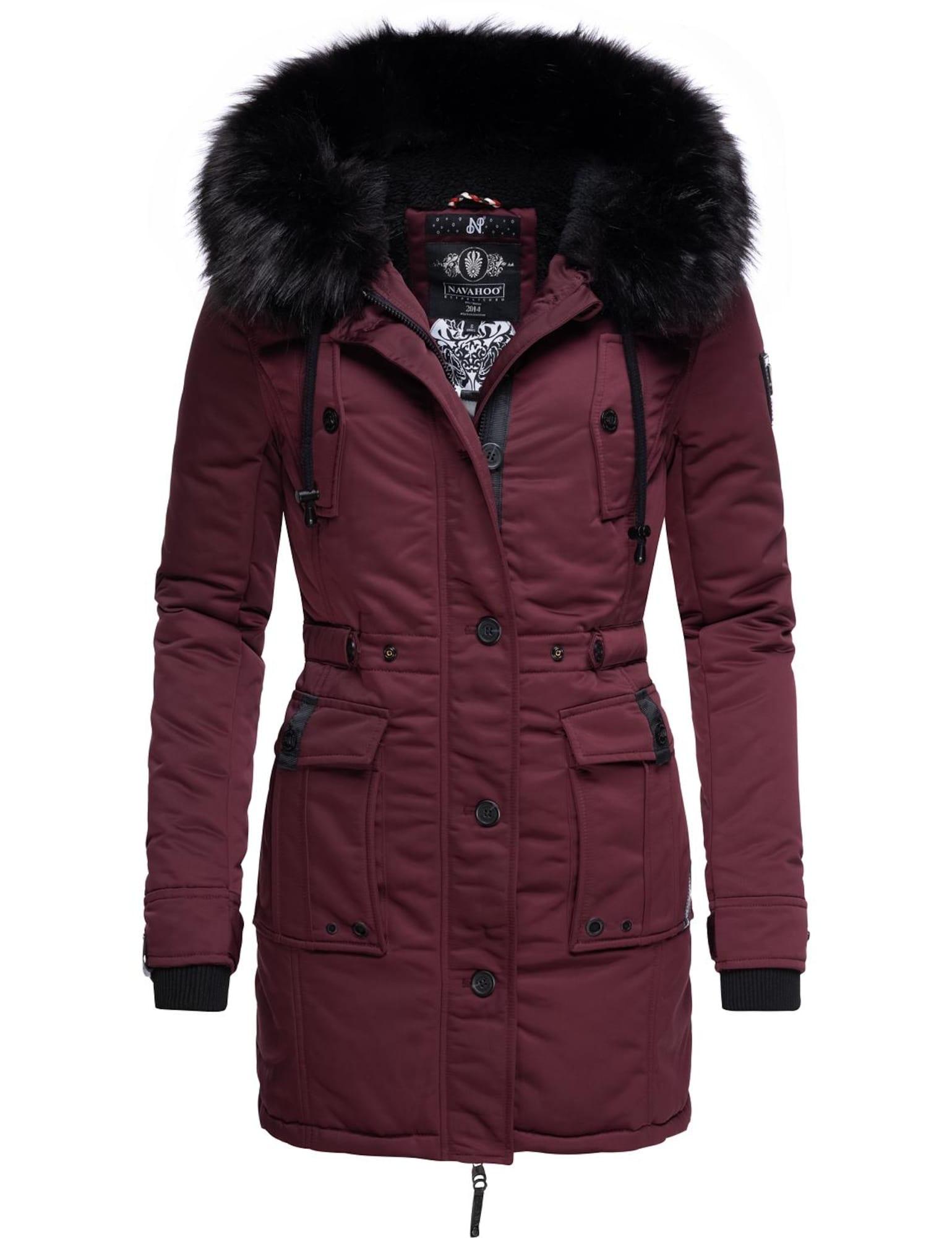 NAVAHOO Žieminis paltas vyno raudona spalva