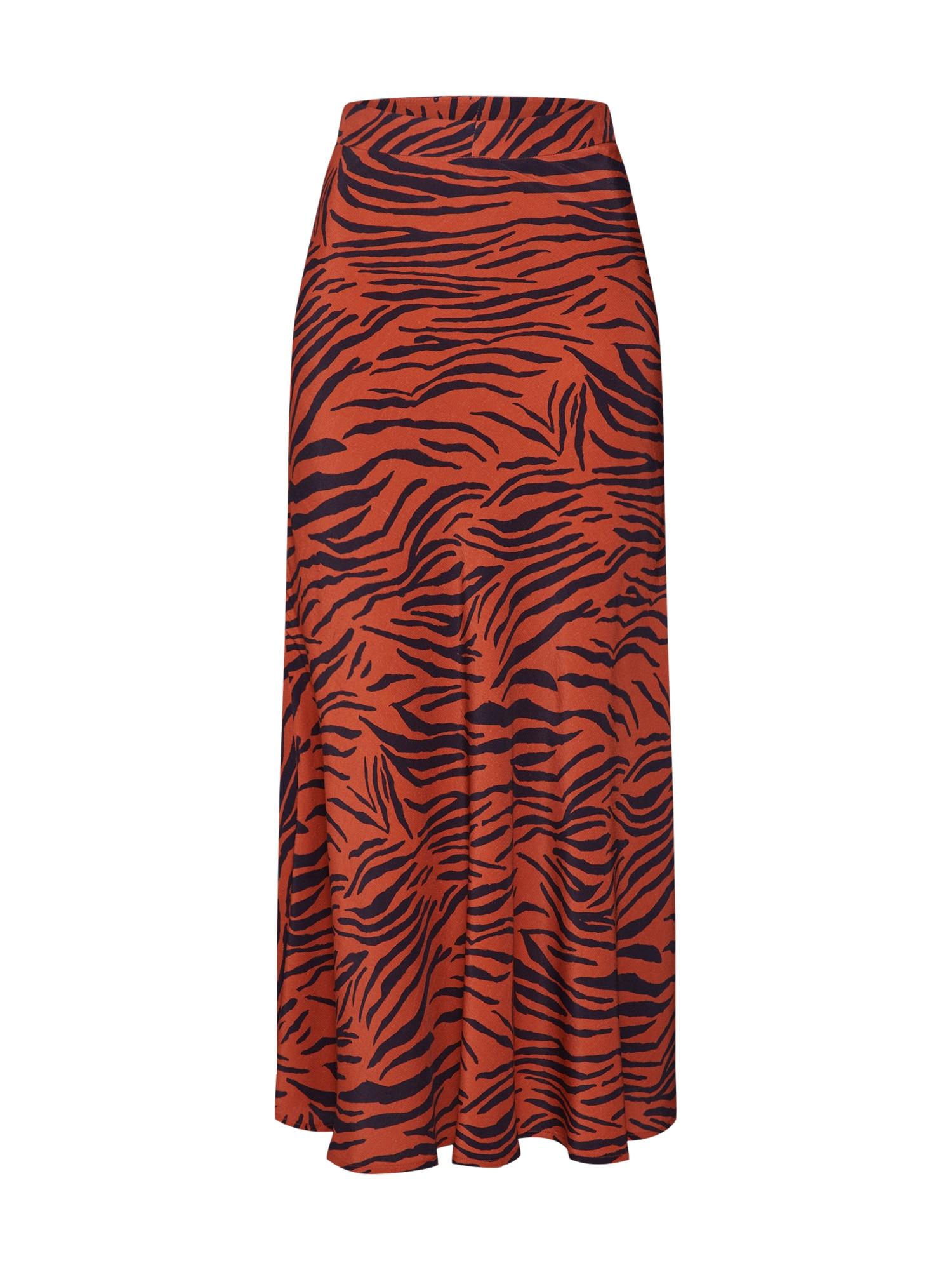CATWALK JUNKIE Sijonas 'animal stripes' ruda / juoda / oranžinė