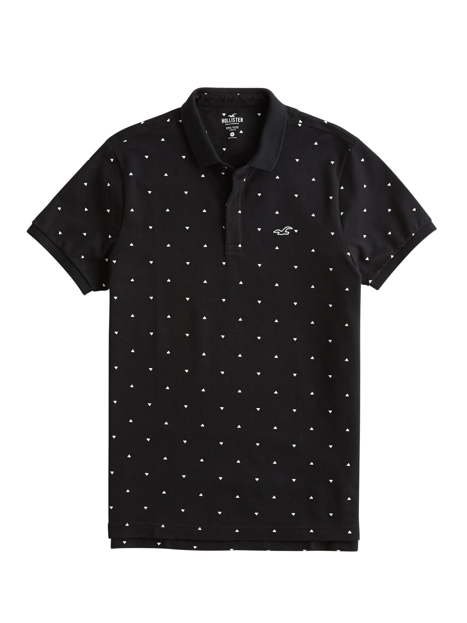 HOLLISTER Tričko 'MODERN COLLAR'  bílá / černá
